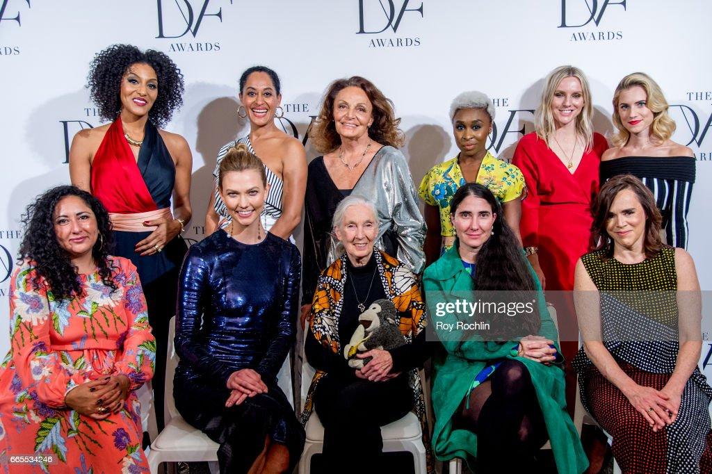 Sarah Jones, Tracee Ellis Ross, Diane von Furstenberg, Cynthia Erivo and Laura Brown, (Bottom row L-R) Baljeet Sandhu, Karlie Kloss, Jane Goodall, Yoani Sanchez and Allison Williams attend the 2017 DVF Awards at United Nations on April 6, 2017 in New York City.
