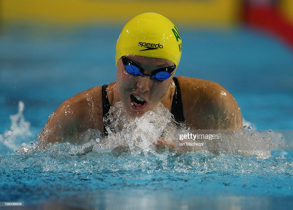 Sarah Katsoulis of Australia competes in the Women's 50m Breaststroke Final during day two of the FINA World Short Course Swimming Championships on December 13, 2012 in Istanbul, Turkey.