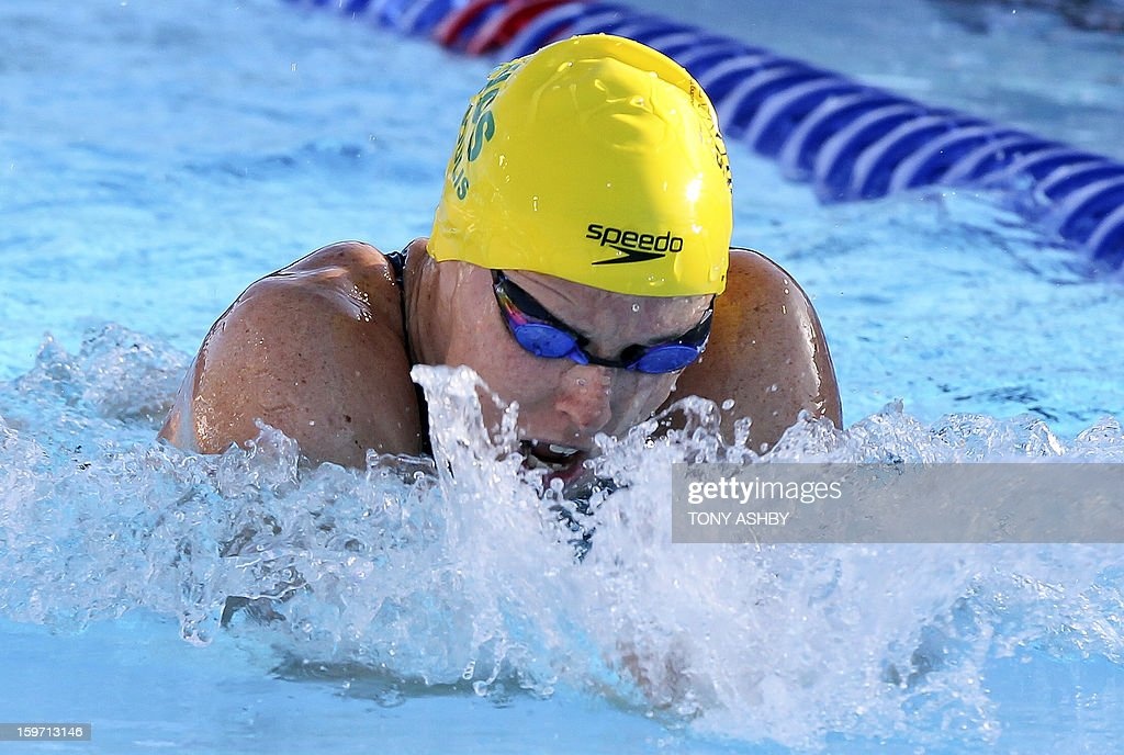 Sarah Katsoulis of Australia swims on her way to win the 200m women's race on day two at the Aquatic Super Series swimming competition in Perth on January 19, 2013. AFP PHOTO/Tony ASHBY USE