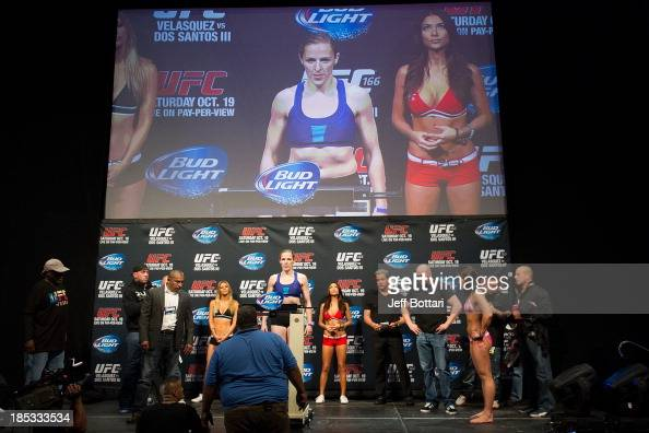 Sarah Kaufman weighs in during the UFC 166 weighin at the Toyota Center on October 18 2013 in Houston Texas