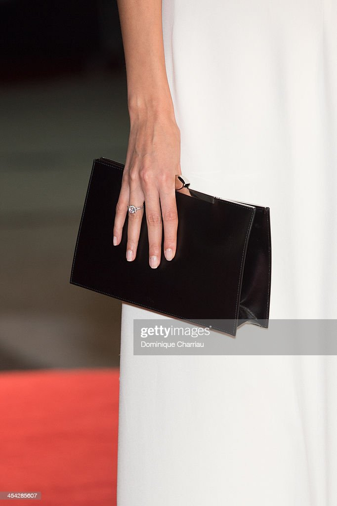 Sarah Kazemy ( bag detail) attends the Award Ceremony of the 13th Marrakech International Film Festival on December 7, 2013 in Marrakech, Morocco.
