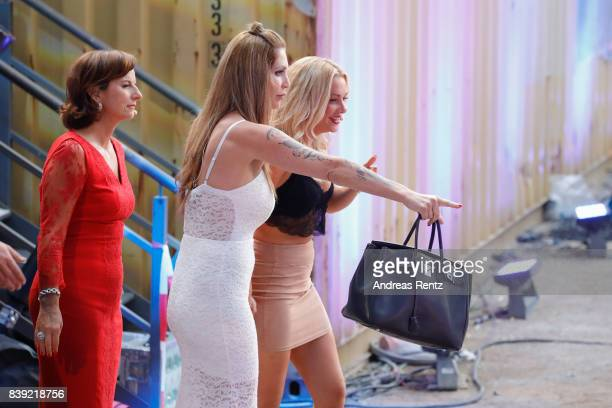 Sarah Kern and Evelyn Burdecki attend the finals of 'Promi Big Brother 2017' at MMC Studio on August 25 2017 in Cologne Germany