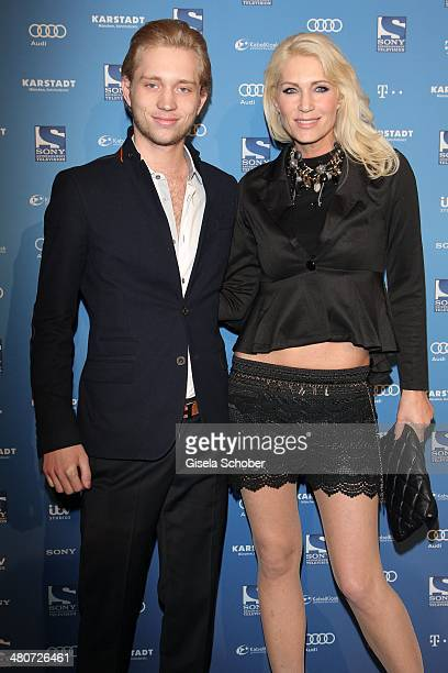 Sarah Kern and her son Olivier Kern attend the screening of the series 'Mr Selfridge' at Karstadt on March 26 2014 in Munich Germany