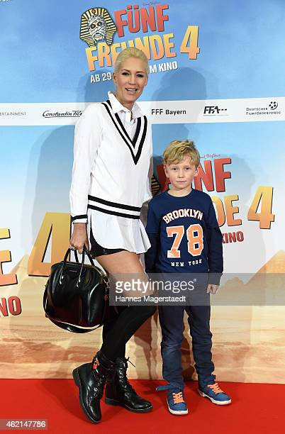 Sarah Kern with her son Romeo attend the premiere of the film 'Fuenf Freunde 4' at Cinemaxx on January 25 2015 in Munich Germany
