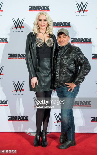 Sarah Knappik and actor Erdogan Atalay arrive prior to the WWE Live Duesseldorf event at ISS Dome on February 22 2017 in Duesseldorf Germany