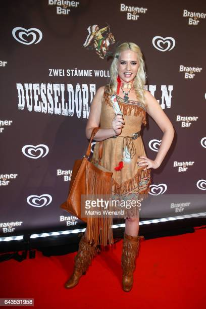 Sarah Knappik attend the comeback party of the ice cream 'Brauner Baer' at Gare du Neuss on February 21 2017 in Neuss Germany