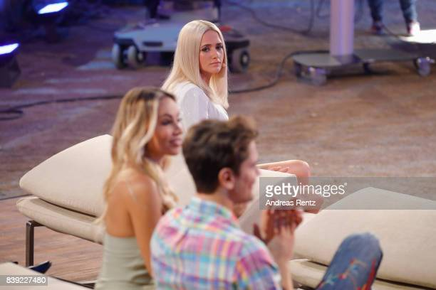 Sarah Knappik looks to Dominik Bruntner during the finals of 'Promi Big Brother 2017' at MMC Studio on August 25 2017 in Cologne Germany