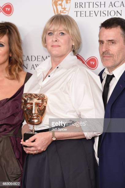 Sarah Lancashire and Con O'Neill winners of the Drama Series award for 'Happy Valley' pose in the Winner's room at the Virgin TV BAFTA Television...