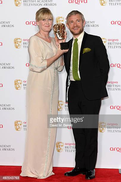 Sarah Lancashire and Martin Freeman attends the Arqiva British Academy Television Awards at Theatre Royal on May 18 2014 in London England