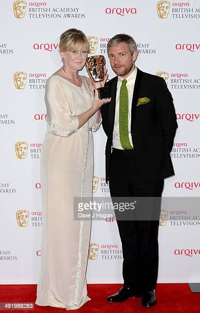 Sarah Lancashire winner of Supporting Actress for Last Tango In Halifax and Martin Freeman at the Arqiva British Academy Television Awards at Theatre...