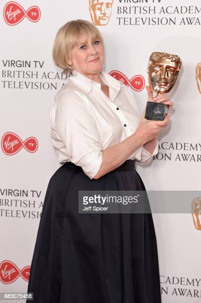 Sarah Lancashire winner of the Leading Actress award for 'Happy Valley' poses in the Winner's room at the Virgin TV BAFTA Television Awards at The...
