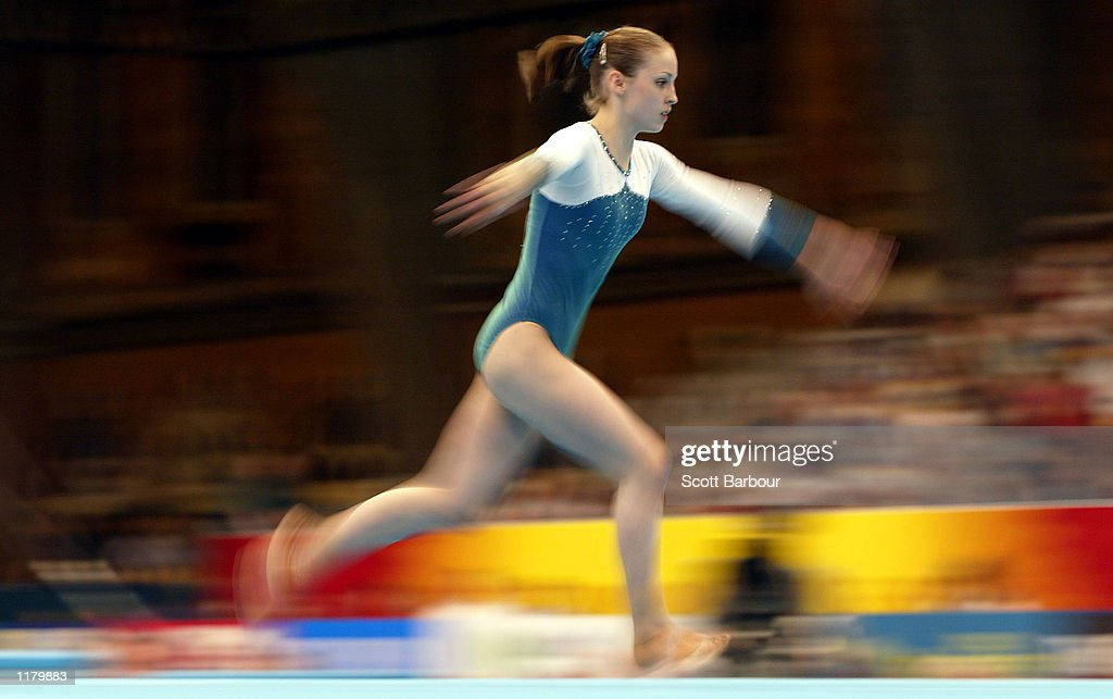 Sarah Lauren of Australia in action whilst winning the gold medal in the Women's Floor Gymnastics Final held at the Greater Manchester Exhibition Centre at the 2002 Commonwealth Games in Manchester, England on July 29, 2002.