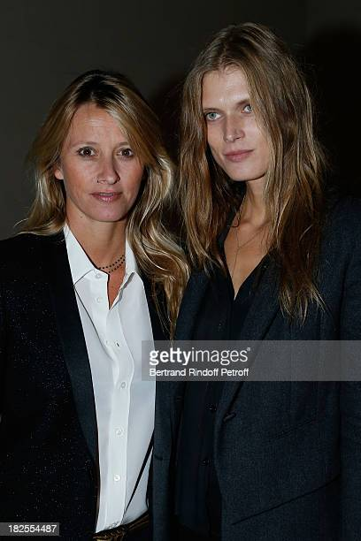 Sarah Lavoine and Malgosia Bela attends Saint Laurent show as part of the Paris Fashion Week Womenswear Spring/Summer 2014 at Grand Palais on...