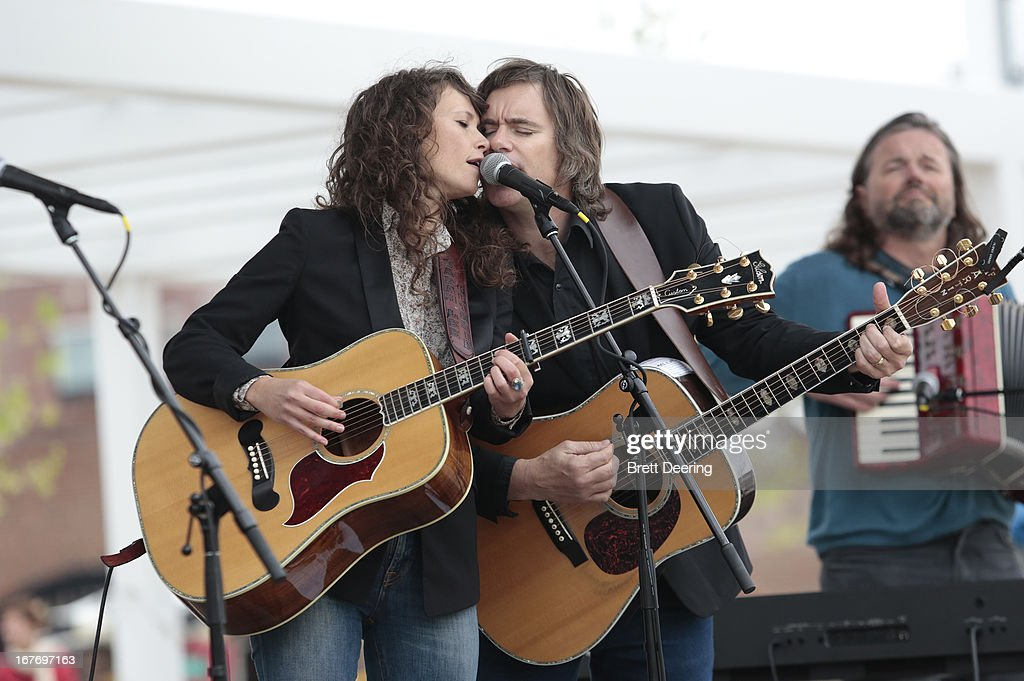 Sarah Lee Guthrie and Johnny Irion perform during the opening ceremony of the Woody Guthrie Center on April 27, 2013 in Tulsa, Oklahoma.