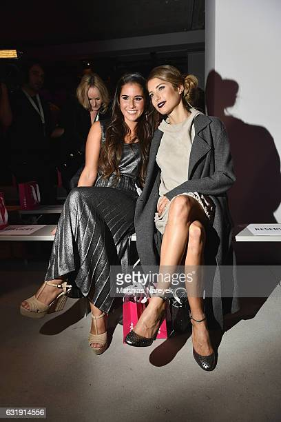 Sarah Lombardi and Cathy Hummels attend the Riani show during the MercedesBenz Fashion Week Berlin A/W 2017 at Kaufhaus Jandorf on January 17 2017 in...