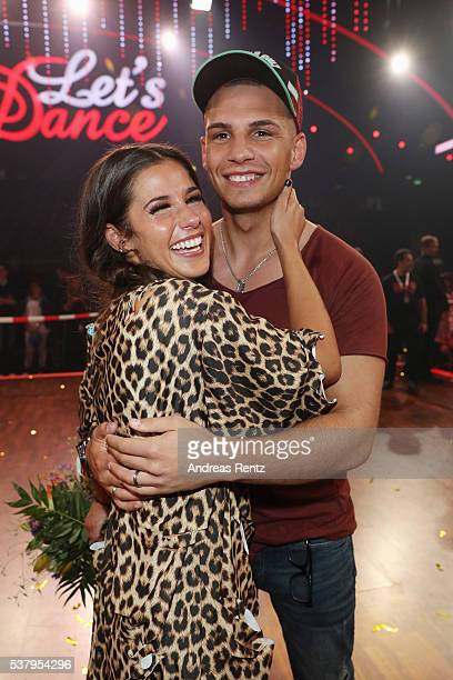 Sarah Lombardi and her husband Pietro Lombardi smile after the final show of the television competition 'Let's Dance' on June 3 2016 in Cologne...