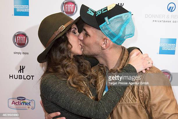 Sarah Lombardi and Pietro Lombardi attends Movie Meets Media at Ritz Carlton on February 6 2015 in Berlin Germany
