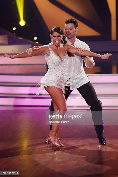 Sarah Lombardi and Robert Beitsch perform on stage during the final show of the television competition 'Let's Dance' on June 3 2016 in Cologne Germany