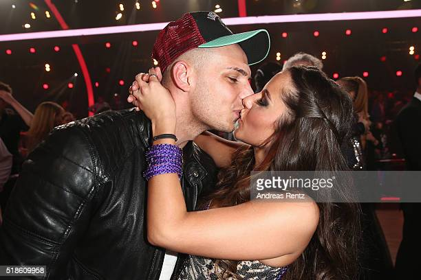 Sarah Lombardi kisses her husband Pietro Lombardi attend the 3rd show of the television competition 'Let's Dance' on April 1 2016 in Cologne Germany