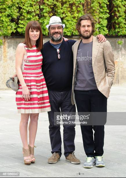 Sarah Maestri Francesco Pannofino and Mattia Zaccaro Garau attend 'Il Pretore' Photocall at Apollo Spazio Cinema on April 2 2014 in Milan Italy