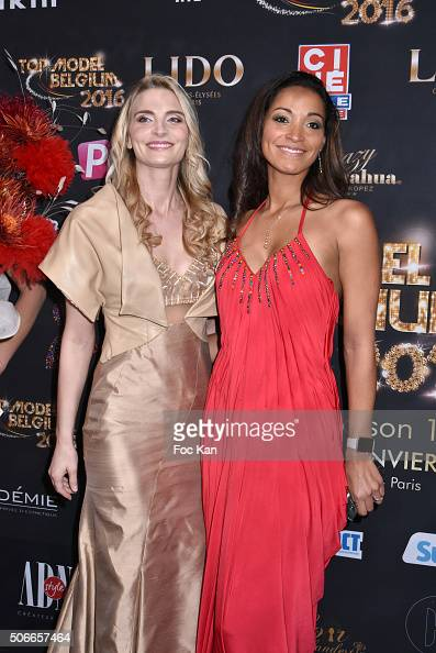 Sarah Marshall and Cindy Fabre attend the 'Top Model Belgium 2016' Ceremony at Le Lido on January 24 2016 in Paris France