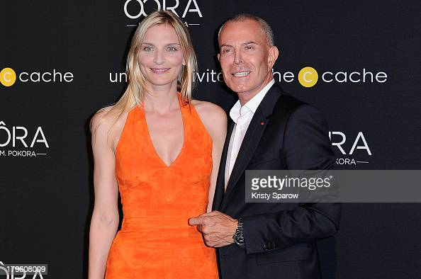 Sarah Marshall and Jean Claud Jitrois attend the photocall for 'OORA' Womenswear Collection designed by French singer Matt Pokora at Pavillon Gabriel...