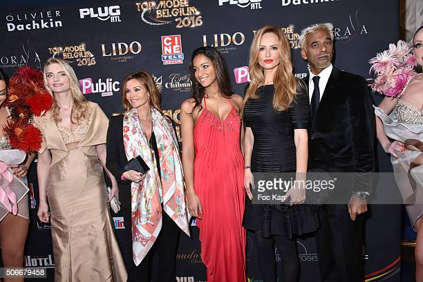 Sarah Marshall ngrid Chauvin Cindy Fabre Adriana Karembeu and Satya Oblette attend the 'Top Model Belgium 2016' Ceremony at Le Lido on January 24...