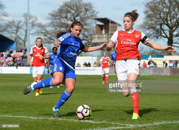 Sarah Mayling of Birmingham City Ladies is tackled by Dominique Janssen of Arsenal Ladies during the SSE FA Women's Cup Sixth Round match between...