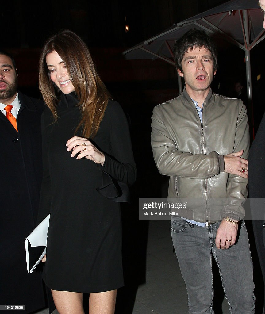 Sarah McDonald and Noel Gallagher at the private view of 'David Bowie Is' at Victoria & Albert Museum on March 20, 2013 in London, England.