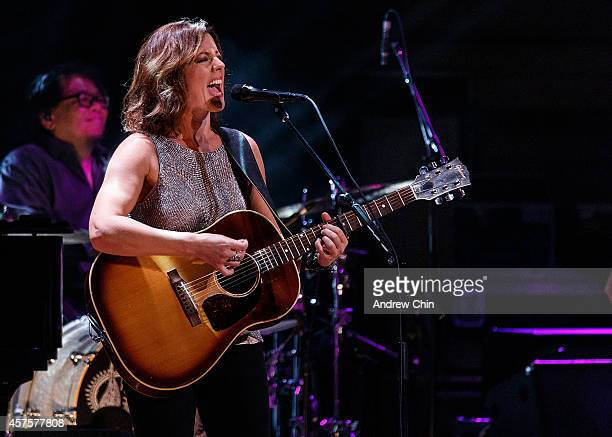 Sarah McLachlan performs on stage during her 'Shine On' Canadian Tour at The Orpheum Theatre on October 20 2014 in Vancouver Canada