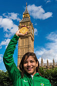 Sarah Menezes Brazil's Olympic champion in judo category at 48 kg poses for a picture during a photo session at Tower Bridge on August 03 2012 in...