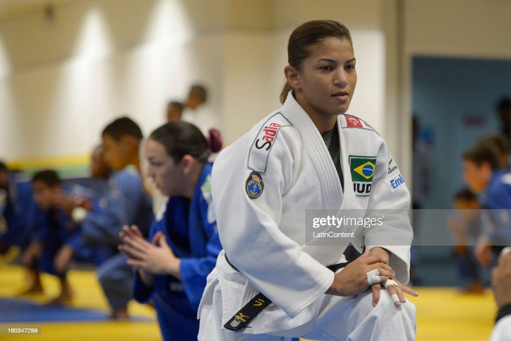 Sarah Menezes in action during the first official training season of the team, who will represent Brazil in the Olympic Games Rio 2016, at Maria Lenk Aquatic Center on January 29, 2013 in Rio de Janeiro, Brazil.