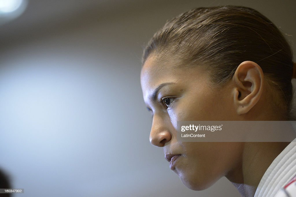 Sarah Menezes looks on during the first official training season of the team, who will represent Brazil in the Olympic Games Rio 2016, at Maria Lenk Aquatic Center on January 29, 2013 in Rio de Janeiro, Brazil.