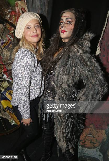 Sarah Michelle Gellar and Mamie Parris as 'Grizabella'pose backstage at the hit musical 'Cats' on Broadway at The Neil Simon Theatre on February 5...