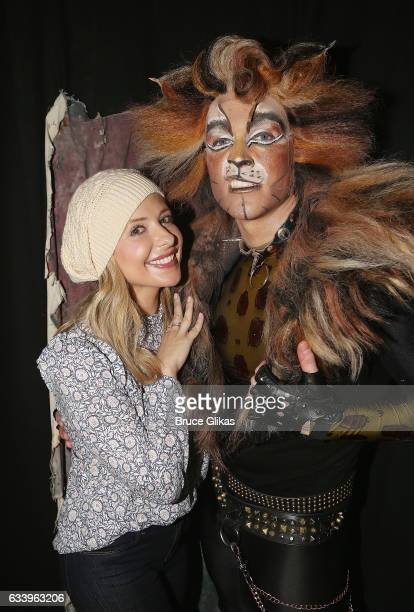 Sarah Michelle Gellar and Tyler Hanes as 'Rum Tum Tugger' pose backstage at the hit musical 'Cats' on Broadway at The Neil Simon Theatre on February...
