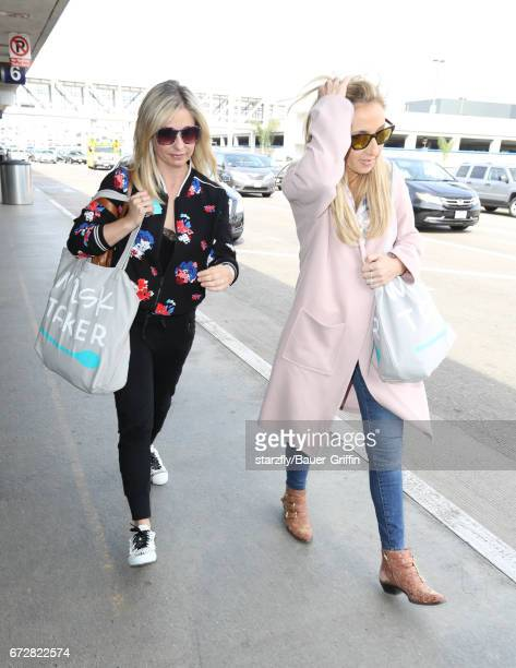 Sarah Michelle Gellar is seen at LAX on April 24 2017 in Los Angeles California