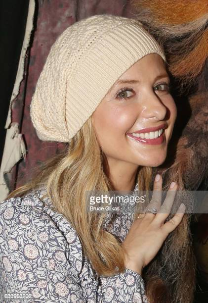 Sarah Michelle Gellar poses backstage at the hit musical 'Cats' on Broadway at The Neil Simon Theatre on February 5 2017 in New York City