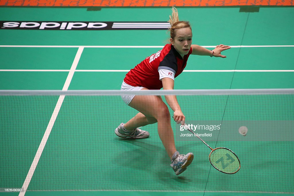 Sarah Milne of England in action in her womens singles match against Chloe Birch of England during Day Two of the London Badminton Grand Prix at The Copper Box on October 2, 2013 in London, England.