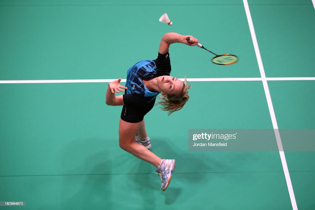 Sarah Milne of England in action in her womens singles match against Busanan Ongbumrungpan during Day 3 of the London Badminton Grand Prix at The Copper Box on October 3, 2013 in London, England.