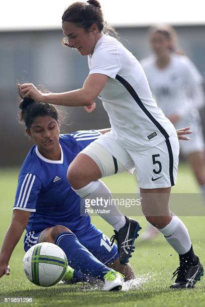 Sarah Morton of New Zealand is tackled during the Oceania U19 Womens Championship match between New Zealand and Samoa at Ngahue Reserve on July 21...