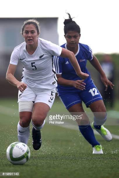 Sarah Morton of New Zealand takes the ball forward during the Oceania U19 Womens Championship match between New Zealand and Samoa at Ngahue Reserve...