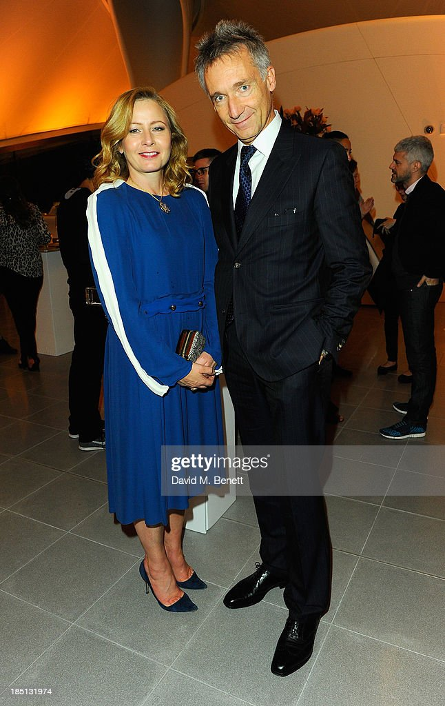 Sarah Mower and Geoffroy de la Bourdonnaye attend a Cocktail party to Celebrate the Launch of the Book 'Chloe Attitudes' hosted by Sarah Mower and Marc Ascoli at Freer and Sackler Gallery on October 17, 2013 in London, England.