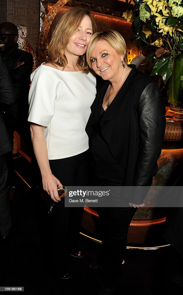 Sarah Mower (L) and Jane Boardman attend a private dinner hosted by Tom Ford to celebrate his runway show during London Collections: MEN AW13 at Loulou's on January 9, 2013 in London, England.