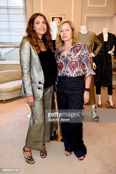 Sarah Mower and Racil Chalhoub attend a cocktail reception hosted by RACIL and MATCHESFASHIONCOM to celebrate the launch of Racil AW16 Collection on...