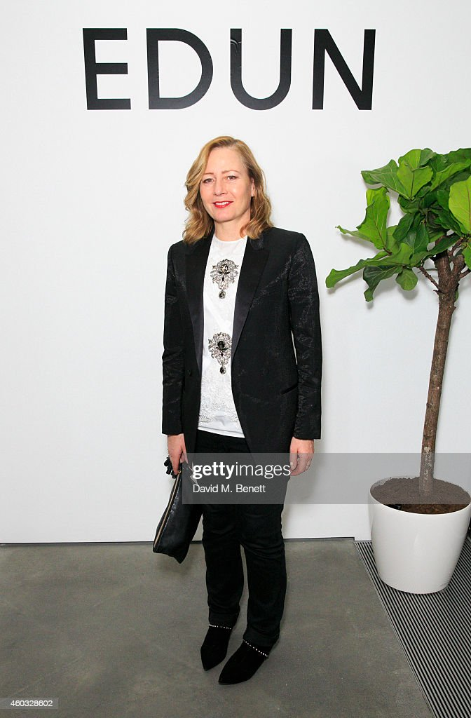 Sarah Mower attends the Edun Pre Fall Dinner at Alison Jacques Gallery on December 11, 2014 in London, England.