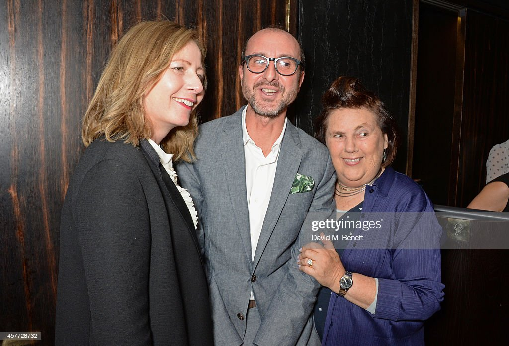 Sarah Mower Gianluca Longo and Suzy Menkes attend the Charlotte Olympia 'Handbags for the Leading Lady' launch dinner at Toto's Restaurant on October...