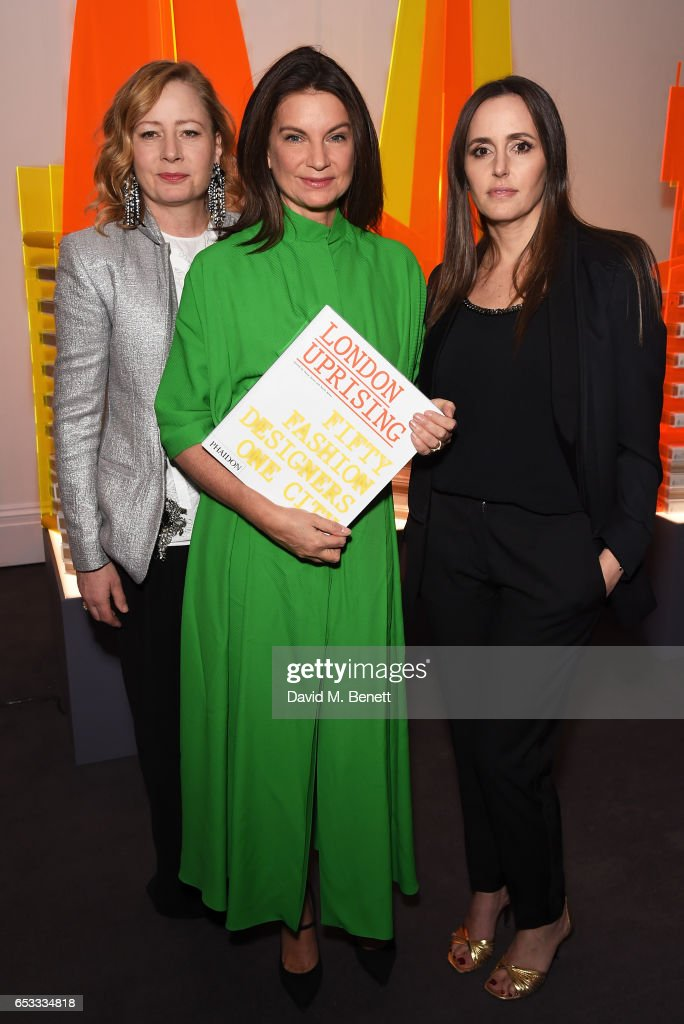 Sarah Mower, Natalie Massenet and Tania Fares attend the launch of new book 'London Uprising: Fifty Fashion Designers, One City' by Tania Fares and Sarah Mower at Sotheby's on March 14, 2017 in London, England.