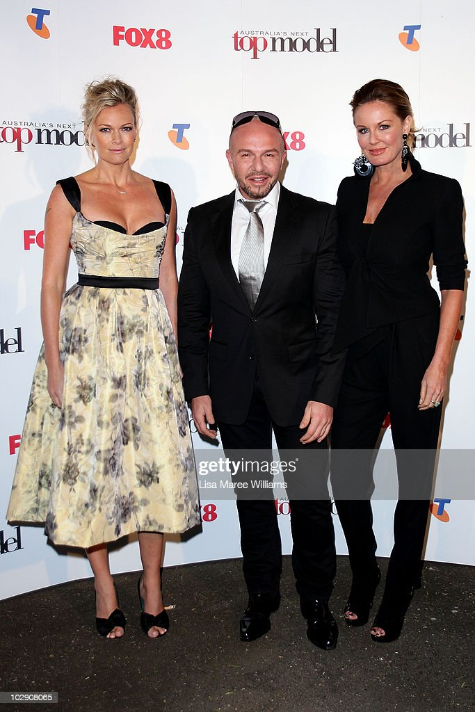 Sarah Murdoch Alex Perry and Charlotte Dawson arrive for the launch of Australia's Next Top Model Series 6 at the Inglis Newmarket Stables on July 15...