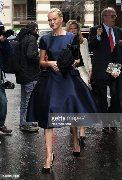 Sarah Murdoch arrives for the wedding of Jerry Hall and Rupert Murdoch at St Brides Church on Fleet Street on March 5 2016 in London England