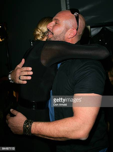 Sarah Murdoch hugs Alex Perry backstage immediately after the catwalk show for Fashion Targets Breast Cancer with Alex Perry and IMG Fashion gala...